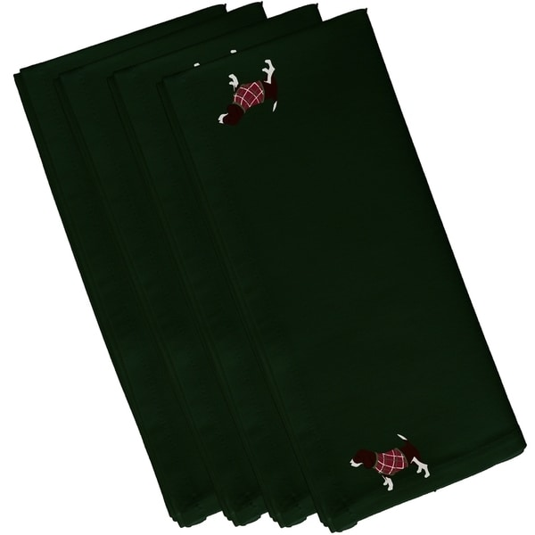 Hound Dog Dark Green Holiday 10-inch Table Top Napkin