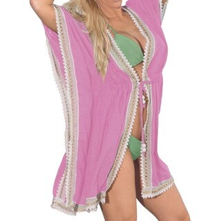La Leela Soft Gentle Tunic Rayon Kimono Women Swimsuit Bikini Cover up Pink Women