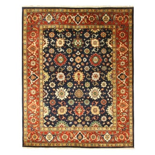 EORC Hand Knotted Wool Navy Super Mahal Rug (10' x 14')