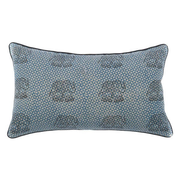 Blue Royal Elephant Print Pillow