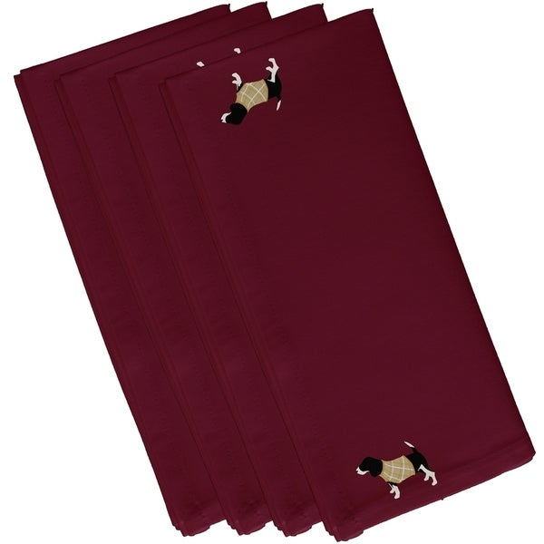 Hound Dog Holiday Print Cranberry 10-inch Table Top Napkin
