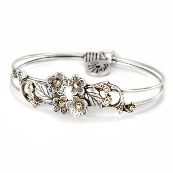 Sweet Romance Pewter Forget-Me-Nots Bangle Bracelet