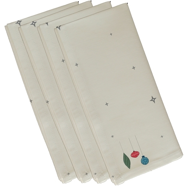 Small Stars and Ornaments Holiday Print Ivory or Cream 10-inch Table Top Napkin