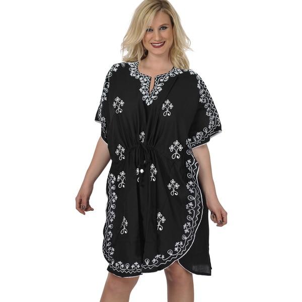La Leela Women's Black/ White Designer Embroidered Beach Cover-up