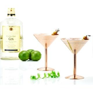 Solid Copper Martini Glasses (Set of 2)