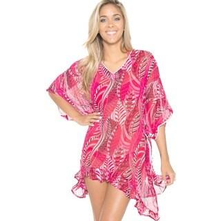 La Leela Women's Sheer Chiffon Designer Red Swim Cover-up