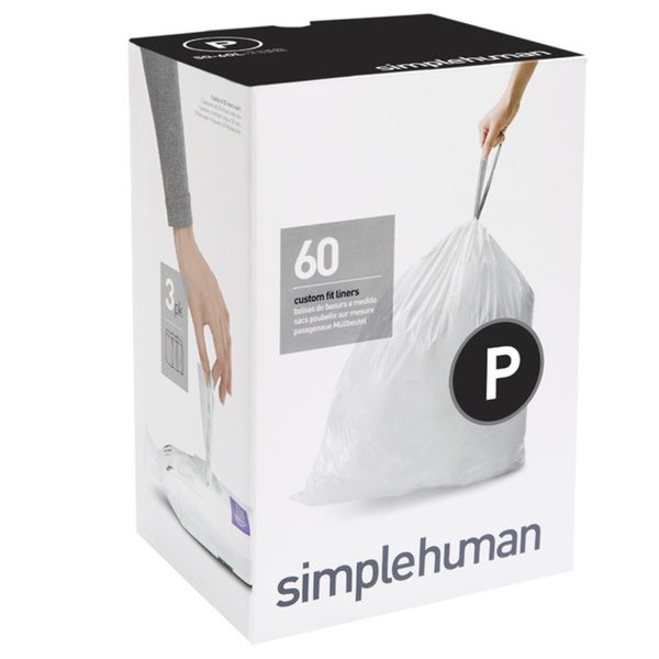 Simplehuman 20-count 13-16 Gallon Code P Custom Fit Trash Can Liners (Pack of 3)