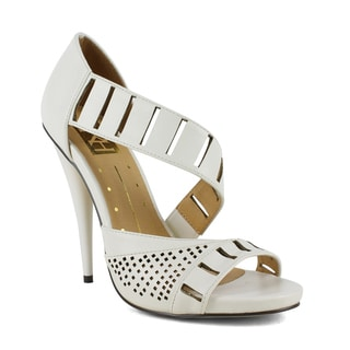 Fahrenheit Women's Rae-06 Asymmetrical Perforated Strap Women's High Heel Sandal