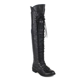 Mark and Maddux Women's Travis-05 Lace-up Over the Knee Women's Riding Boot