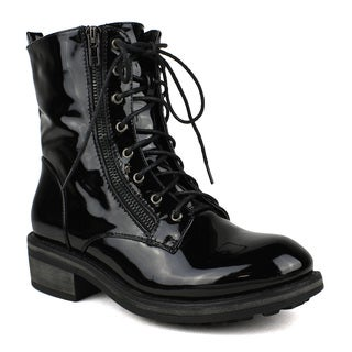 Mark and Maddux Women's WII-01B Lace-up Combat Boots