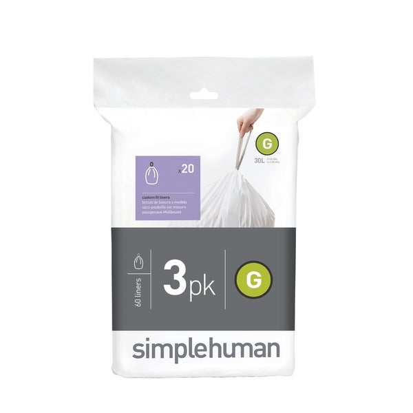 Simplehuman 20-count 8-gallon Code G Custom Fit Trash Can Liners (Pack of 3)