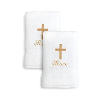 Authentic Hotel and Spa Embroidered Cross Turkish Cotton Terry Hand Towels - Set of 2
