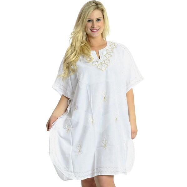 La Leela Women's White Golden Designer Embroidered Kaftan Dress