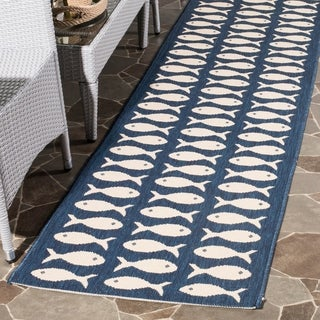 Safavieh Indoor/ Outdoor Courtyard Navy/ Beige Rug (5'3 x 7'7)