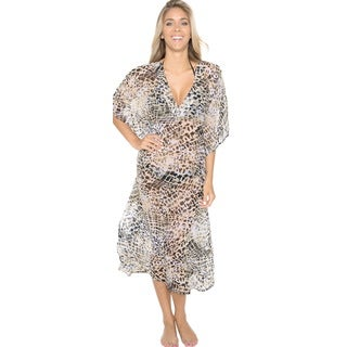 La Leela Women's Sheer Chiffon Beige Animal Printed Long Beach Cover-up