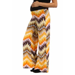 24/7 Comfort Apparel Women's Maternity Orange and Brown Palazzo Pants