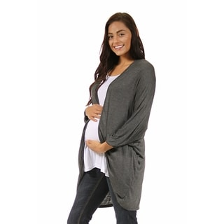 24/7 Comfort Apparel Women's Maternity Dolman Sleeve Oversized Long Shrug