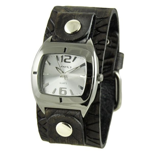 Nemesis Silver 'Retro Vintage' Womens Watch with Faded Brown Cracked Leather Cuff Band