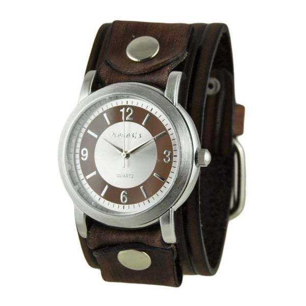 Nemesis Brown/Silver Retro Dual Tone Womens Watch with Vintage Brown Embossed Stripes Leather Cuff Band