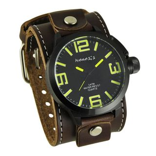 Nemesis Black/Yellow Round Oversized Mens Watch with Brown XL Stitch Leather Cuff Band
