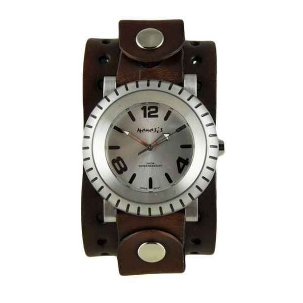 Nemesis Silver 'Wheelman' Mens Watch with Dark Brown Basic Jumbo Leather Cuff Band