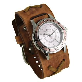 Nemesis Pink Bella Watch with Faded Brown X Leather Cuff Band