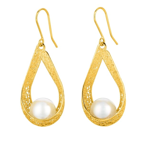14k Yellow Gold 10mm White Pearl Bird Nest Dangle Earring