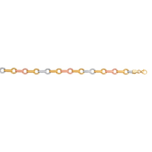 14k Three-tone Gold 7.25-inch Ring/ Bar Fancy Bracelet