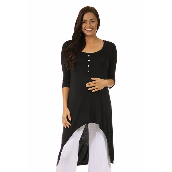24/7 Comfort Apparel Women's Maternity 3/4-sleeve Extra-long Tunic