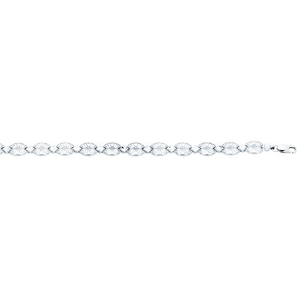14k White Gold 7.25-inch Angel Wing-like Fillagree Bracelet