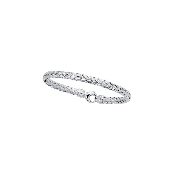 14k White Gold 7.25-inch 5.5mm Weave Bangle with Lock