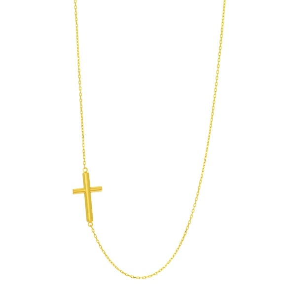 14k Yellow Gold 16-inch plus 2-inch Extention 0.9mm Oval Tube Cross Necklace