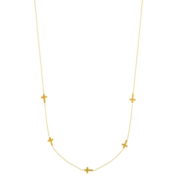 14k Yellow Gold 16-inch plus 1-inch Extension Shiny 5-Side Way Cross Necklace