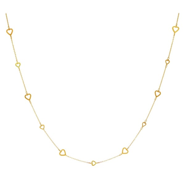14k Yellow Gold 18-inch Shiny Open Multi-heart Necklace
