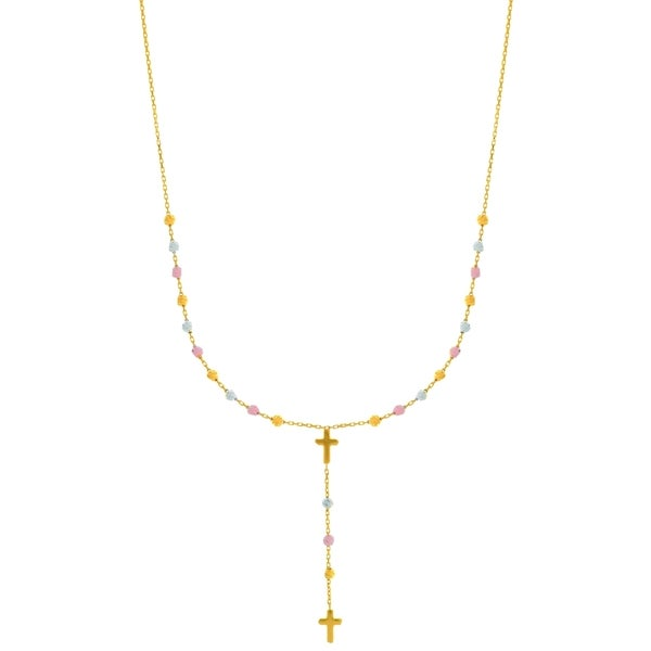 14k Three-tone Gold 16-inch Plus 1-inch Extension Diamond Cut Necklace
