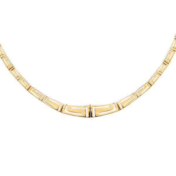 14k Yellow Gold 17-inch Pol Graduated Greek Key Necklace