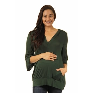24/7 Comfort Apparel Women's 3/4-sleeve Slip-on Maternity Hoodie Top