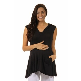 24/7 Comfort Apparel Women's Sleeveless Maternitytunic Hoodie with A Kangaroo Pocket
