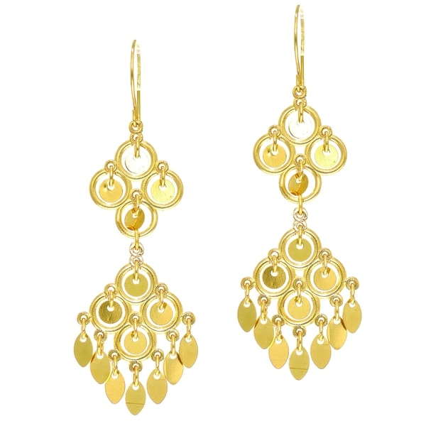 14k Yellow Gold Shiny Textured 4 Circle On 4 Earring