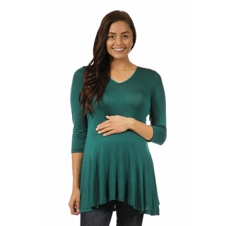 24/7 Comfort Apparel Women's 3/4 Maternity Sleeve V-neck Tunic