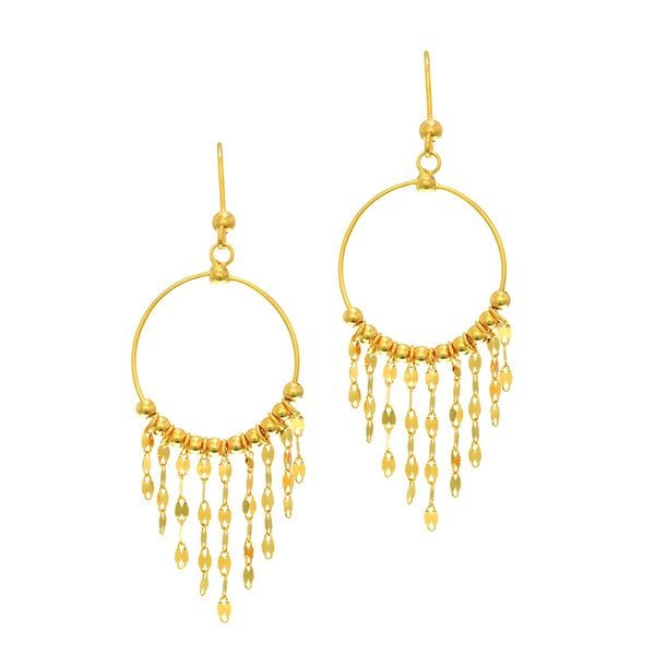 14k Yellow Gold Shiny Chandelier Earring With Earring
