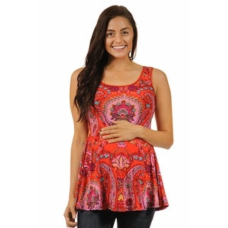 24/7 Comfort Apparel Women's Blood Orange Mosaic Tank Top