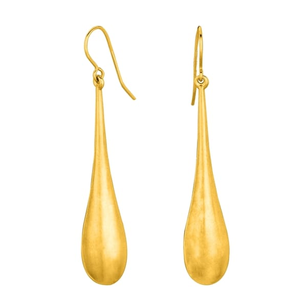 14k Yellow Gold Shiny Long Tear Drop Earring With Earring