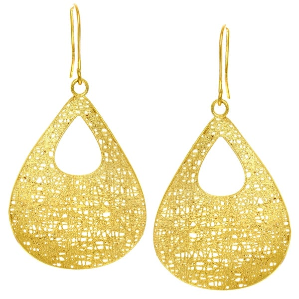 14k Yellow Gold Fancy Teardrop Dangle Earring