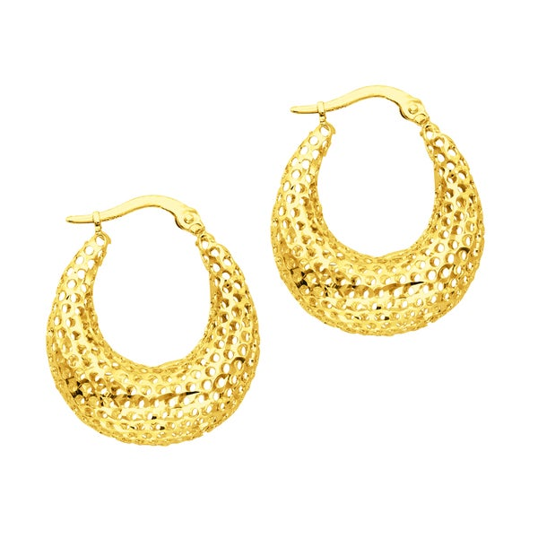 14k Gold Open Mesh Earring