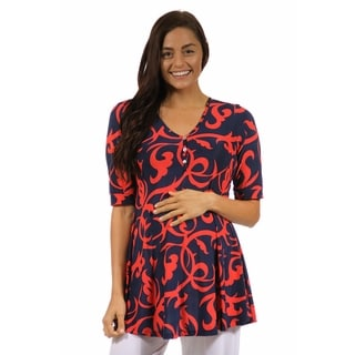 24/7 Comfort Apparel Women's Maternity Abstract Red and Navy Henley Tunic Top
