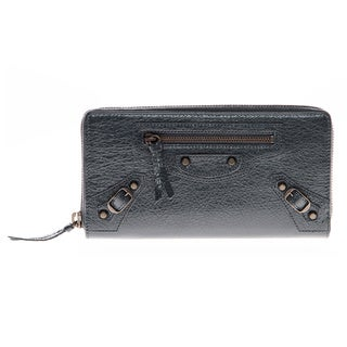 Balenciaga Classic Continental Dark Grey Zip Around Wallet