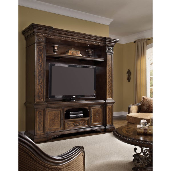 White Oak and Walnut Entertainment Center with LED Lighting