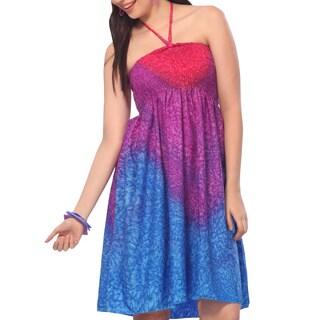 La Leela Blue Rain Drop Halter Backless Short Tube Dress Women Maxi Skirt Pink