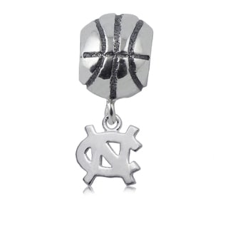 UNC Sterling Silver Basketball Charm Bead